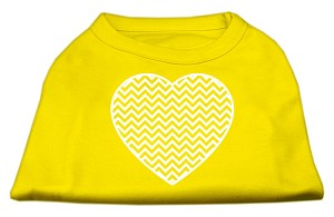 Chevron Heart Screen Print Dog Shirt Yellow XL (16)